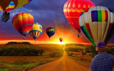Country Road with Balloons